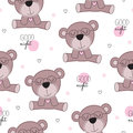 Seamless cute teddy bear pattern vector illustration