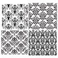 Seamless damask backgrounds set Royalty Free Stock Photo