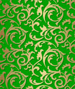 Seamless damask baroque golden pattern on green background Royalty Free Stock Photo