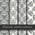 Seamless damask beige pattern set. Royalty Free Stock Photo