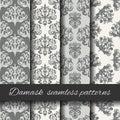 Seamless damask beige pattern set. Royalty Free Stock Photo