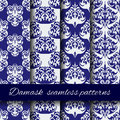 Seamless damask beige vector pattern set. Royalty Free Stock Photo