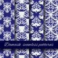 Seamless damask beige vector pattern set. Royalty Free Stock Photo