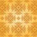 Seamless Damask Pattern Orange...