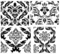 Seamless damask patterns set Royalty Free Stock Image