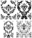 Seamless damask patterns set Stock Photo
