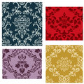 Seamless damask patterns set Stock Images