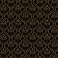 Seamless Damask Wallpaper 3 Black Golden Color Stock Photo