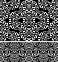 Seamless damask white Pattern on the black Background. Royalty Free Stock Photo