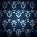 Seamless dark blue wallpaper in style retro. Royalty Free Stock Photo
