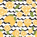 Seamless decorative background with yellow lemons and black grunge hand drawn waves. Royalty Free Stock Photo