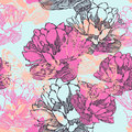 Seamless decorative pattern with tulips and butter butterflies vector illustration Royalty Free Stock Photos