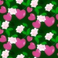 Seamless decorative pattern of Valentine hearts on pink background floral ornament Royalty Free Stock Photo