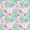 Seamless delicate floral pattern.Pink, blue flowers on light grey background.