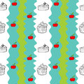 Seamless design with cakes and apples illustration of a on a white background Stock Photos