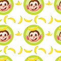 A seamless design with monkeys and bananas illustration of on white background Stock Images