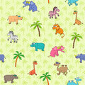 Seamless different animal pattern south animals and plants with cartoon elephant camel zebra rhinoceros hippopotamus lion giraffe Stock Photo