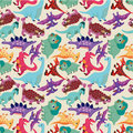 Seamless dinosaur pattern Stock Photo