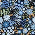 Seamless ditsy floral pattern with beautiful blue flowers and leaves on black background in folk style. Royalty Free Stock Photo