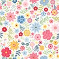 Seamless ditsy floral pattern with cute little flowers on white background. Vector illustration. Royalty Free Stock Photo