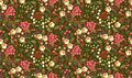 Seamless ditsy floral pattern with roses, tulips, leaves and petals on dark green background. Vector summer design