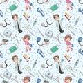 Seamless doctor pattern Stock Photos