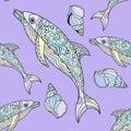 Seamless dolphin pattern Royalty Free Stock Photo