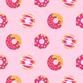 Seamless donut pattern vector. Pink donuts background.
