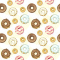 Seamless donuts background vector illustrated Royalty Free Stock Photos