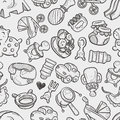Seamless doodle baby toy pattern cartoon vector illustration Stock Image