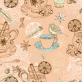 Seamless doodle background with mulled warm wine