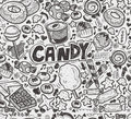 Seamless doodle candy pattern cartoon vector illustration Stock Photography