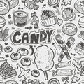 Seamless doodle candy pattern cartoon vector illustration Royalty Free Stock Photo