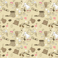 Seamless Doodle Coffee pattern Stock Photo