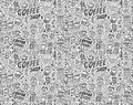 Seamless doodle coffee pattern background cartoon illustration Stock Image