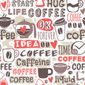 Seamless doodle coffee pattern hand drawn vector illustration. Royalty Free Stock Photo