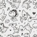 Seamless doodle dinosaur pattern cartoon vector illustration Royalty Free Stock Photo