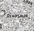 Seamless doodle dinosaur pattern cartoon vector illustration Stock Photos