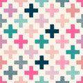 Seamless doodle dots cross pattern