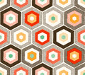 Seamless doodle dots hexagonal pattern colorful Stock Photos