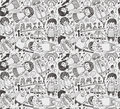 Seamless doodle family pattern Royalty Free Stock Images