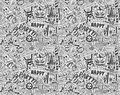 Seamless doodle halloween holiday background cartoon illustration Stock Photos