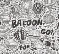 Seamless doodle hot air balloon pattern cartoon illustration Stock Photo