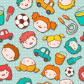 Seamless doodle kids background vector illustration Stock Photos