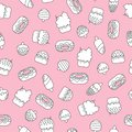 Seamless doodle pattern with ice creams and cakes