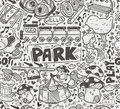 Seamless doodle playground pattern cartoon illustration Stock Photo