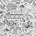 Seamless doodle playground pattern cartoon vector illustration Royalty Free Stock Photography
