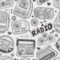 Seamless doodle radio pattern cartoon vector illustration Royalty Free Stock Photos