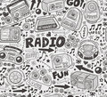Seamless doodle radio pattern cartoon vector illustration Stock Image