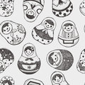 Seamless doodle russian doll pattern cartoon vector illustration Stock Photo